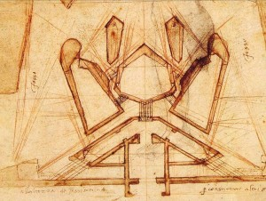 Michelangelo Buonarotti's drawings for the fortifications of Florence, made in 1528-9. Courtesy of the Casa Buonarotti, Florence, Italy.